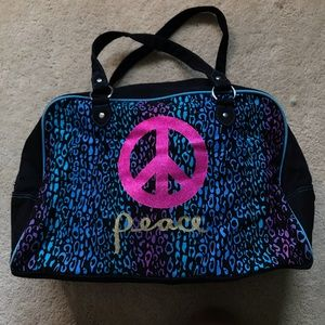 Leopard Print Peace Sign Duffle Bag